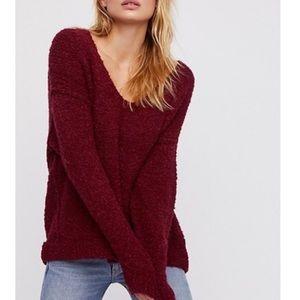 NEW Free People Wine Lofty V-Neck Sweater - NWT